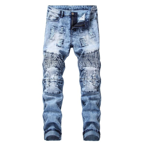 Compre Moruancle Para Hombre De Moda Jeans Rotos Motocicleta Pantalones Patched Lamentando Motorista De Mezclilla Pantalones Para Tamano Masculino Remiendo 28 40 A 23 81 Del Whitecloth Dhgate Com