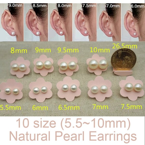 100% Natural Pearl Earrings 925 Sterling Silver &gold plated Earrings Jewelry For Women 5.5-10mm Oblate Stud Earrings Freshwater Peal Gift