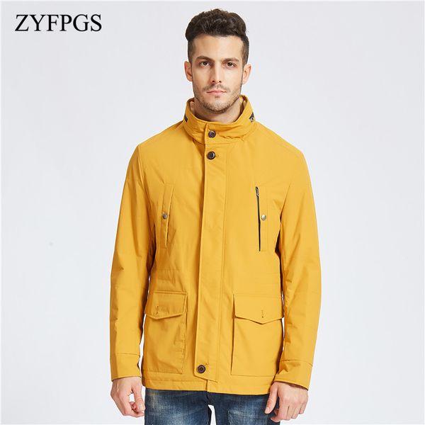 ZYFPGS 2018 Nuovo arrivo caldo degli uomini sexy giacca solido cerniera giacca di alta qualità degli uomini casual parco invernale moda 814