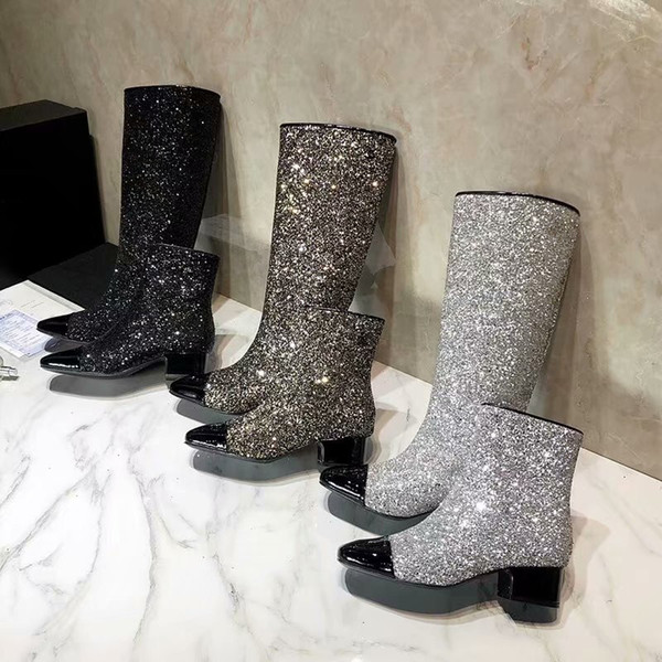 262a87f1926 Autumn Winter Women Square Toes Sequined Cloth Mixed Color Long Short Boots  Luxury Brand Chunky Heel