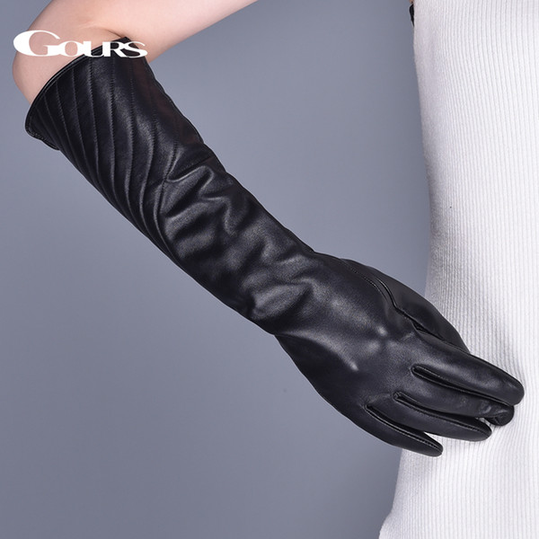 Gours Women's Genuine Leather Gloves Winter Warm Striped Black Sheepskin Long Touch Screen Gloves Fashion Mittens New GSL081