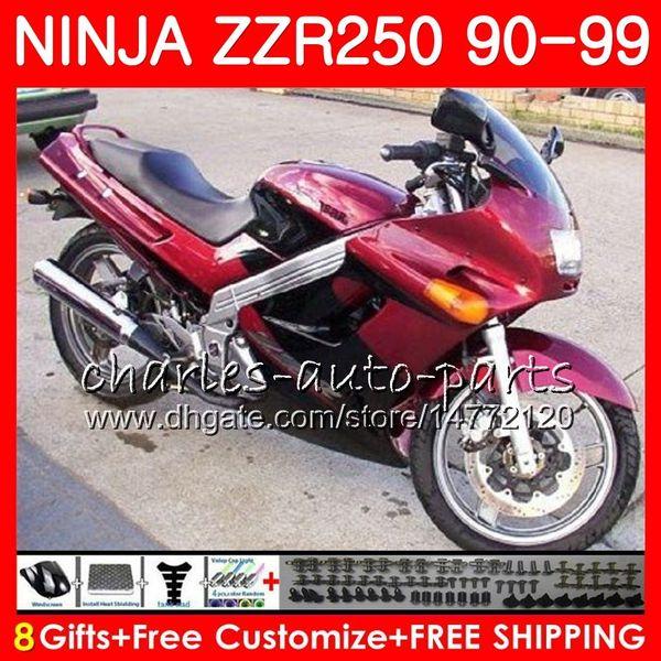 Fairing black new For KAWASAKI NINJA ZZR250 ZZR 250 90 95 96 97 98 99 117HM.47 ZZR-250 1990 1995 1996 1997 1998 1999 Bodywork kit glossy red