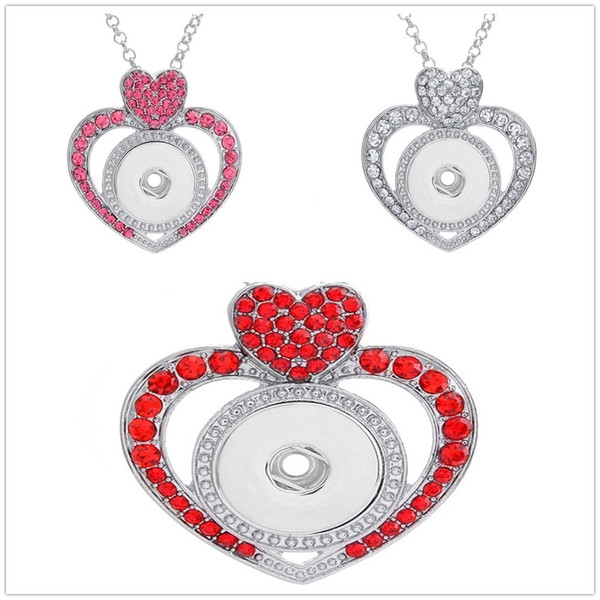 Fashion women love heart shape Pendant Necklace Ginger Snap Diy Heart type Jewelry with Stainless steel chain Fit 18mm charm Button