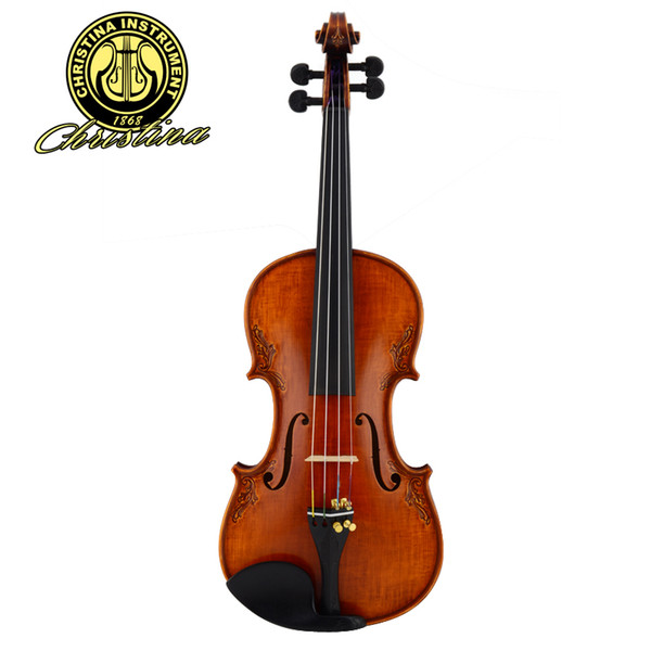 Italy Christina Master Violin 4/4 Made in Europe Carved Maple Flamed Violin Professional Handmade violin with fiddle case bow