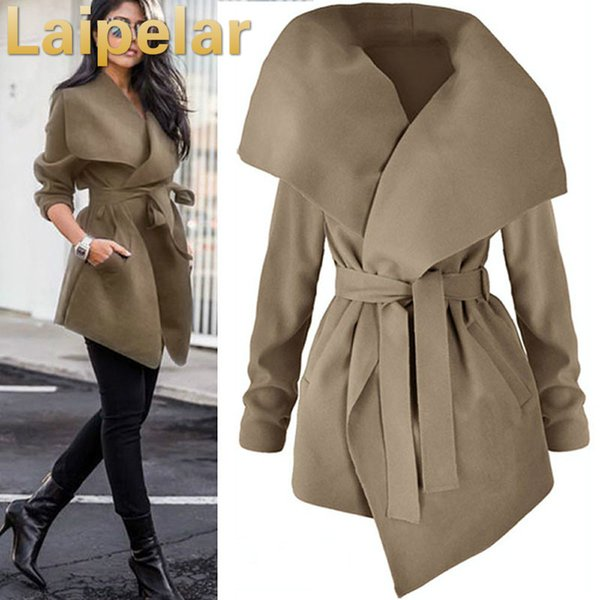 Women Lapel Belt Trench Coat Elegant Lace Up Woolen Long Coat Outerwear 2018 Spring Autumn Fashion Windbreaker Cardigan Overcoat