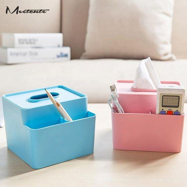Meetcute Plastic Tissue Box Toilettenpapier Aufbewahrungsbox Multifunktions-Container Kleinigkeiten Halter für Home Living Room Office Car