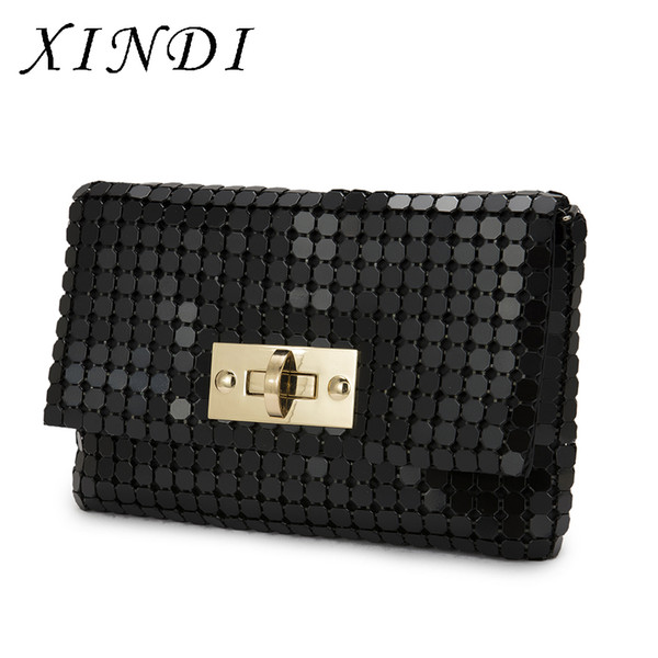 2017 Luxury High Quality Metal Bags Black Office HandBags Ladies Shoulder Bags With chain High grade Dinner Party Handbags