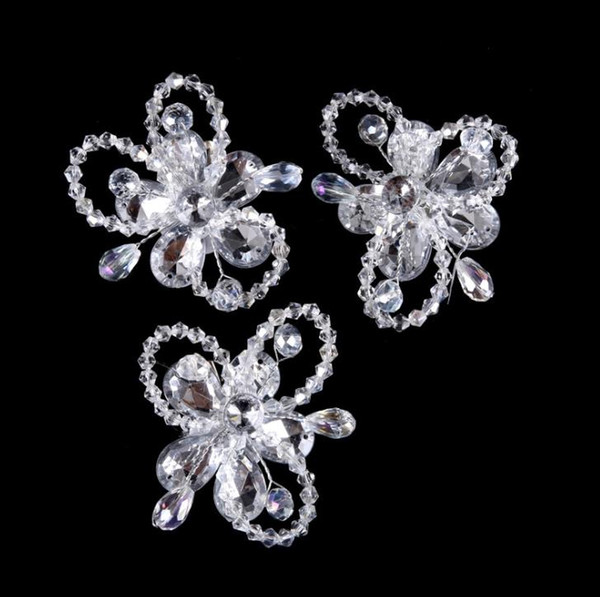 Crystal hairpin, white bow, hairpin headwear, children hairpin bow bow clip