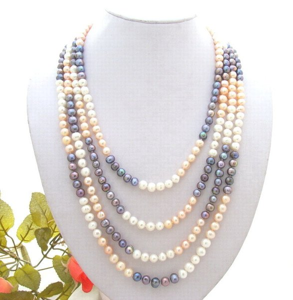 Handmade natural 7- 8mm white pink black freshwater cultured pearl necklace long 200cm fashion jewelry