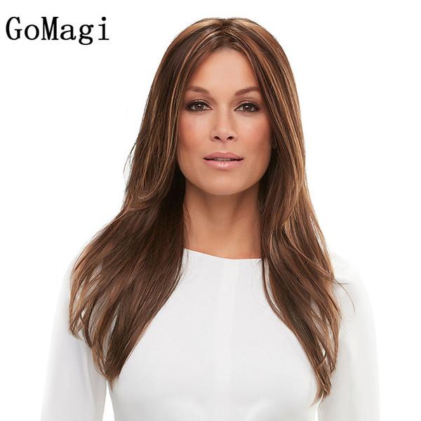 In Frau Set geschichtet lange gerade Haare hellbraun Mischfarbe Perücke Simulation Kopfhaut