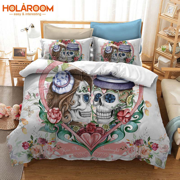 3D Prined Bedding Set Halloween Skull Couple Wedding Duvets Cover Pillowcase AU/US/EU Single/Double/Queen/King Duvet Cover Set