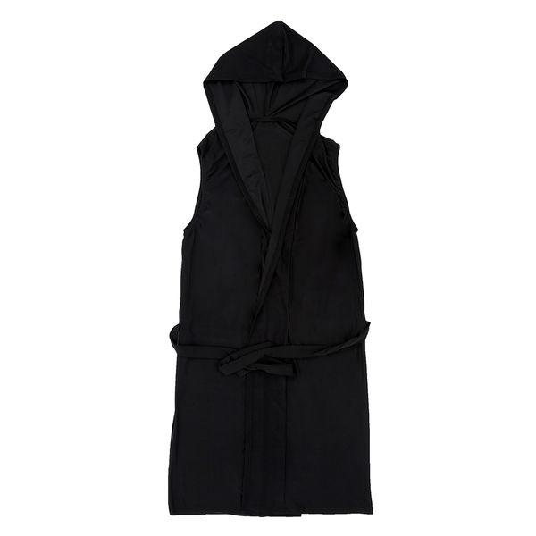 Sexy Mens Robes Bathrobe Sleepwear Male Kimono Silk Black S