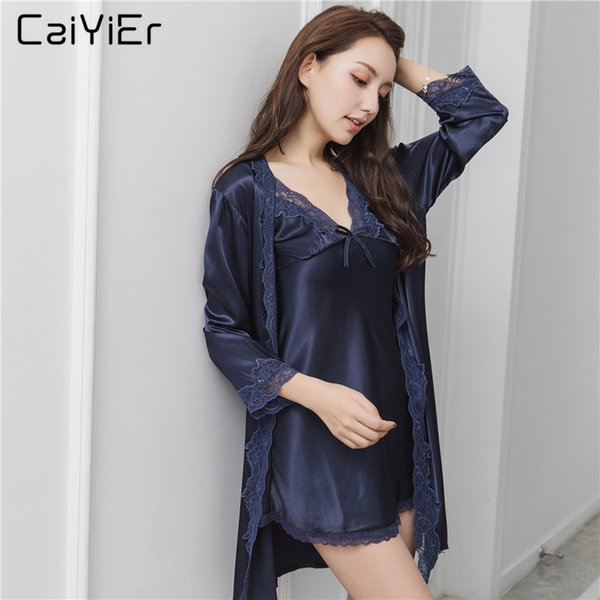 Caiyier 2018 Summer Women Robe Sets Short Nightgowns Female Simple Backless Sexy Lace Strap Solid Sleep Wear Nightgowns LL6528