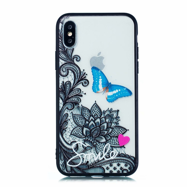For Iphone XR XS MAX X 10 8 7 Plus 6 6S Luxury Relief Flower Lace Case Henna Paisley Mandala Hard PC+Soft TPU Owl Panda Butterfly Cool Cover