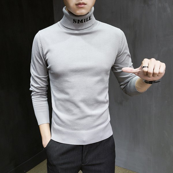Korean Autumn Winter Sweater Men Brand New Slim Fit High Collar Pullovers Men Letter Print Long Sleeve Casual Pull Homme 2XL-M