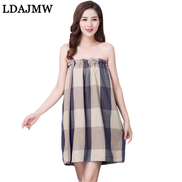 LADJMW New Adult Plaid Ladies Cotton Accappatoio da bagno Asciugamano Variety of Tube Top Gonna da bagno Spa Massaggio asciugamano Set