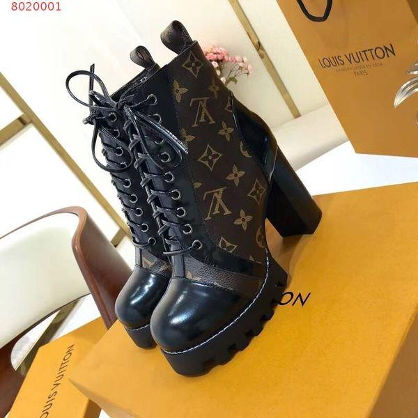 Botas de diseñador de las mujeres famosa marca de lujo de cuero genuino de alta calidad de impresión de tacones altos zapatos de mujer botas de moto de moda nueva llegada