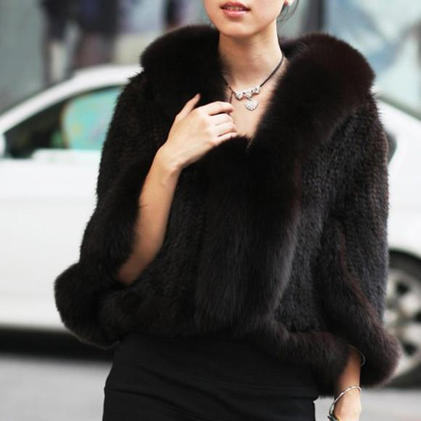 2016 New Genuine Knitted Mink Fur Shawl Poncho With Fox Trimming Real Mink Fur Jacket Fashion Mink Fur Coat