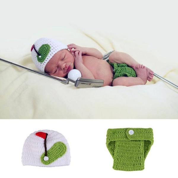Bebé recién nacido Accesorios de fotografía Accesorios Pantalones de punto Conjunto de sombreros Bebé Accesorios para fotos Golfista