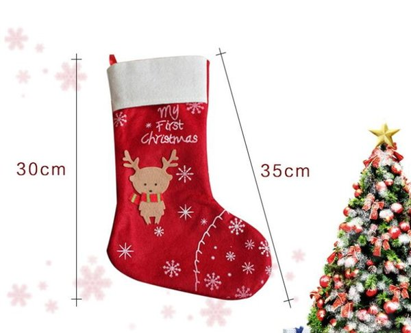 New Year Christmas Stockings Socks Red Elk Merry Christmas Stocking Candy Gift Bag Xmas Tree Hanging Ornament Decoration