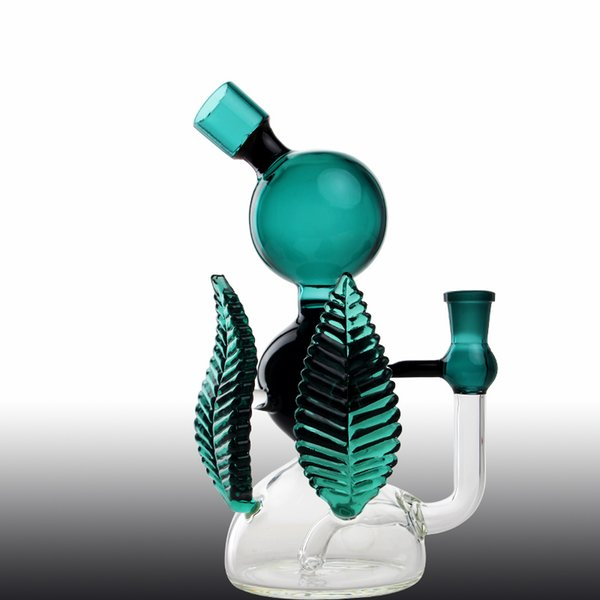 New Leaf Glass bong leaf shape glass bong three ball connected speical green dab rigs bubbler Leaf Style smoking Green Smook DS-1