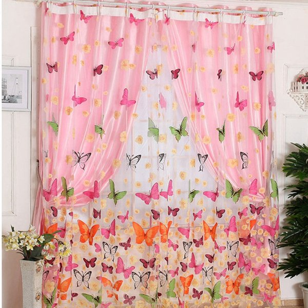 Europe Style Voile Door Sheer Window Curtains Home Decor Butterfly Print Window Sheer Curtains Panels for Living Room Bedroom Home Supplies