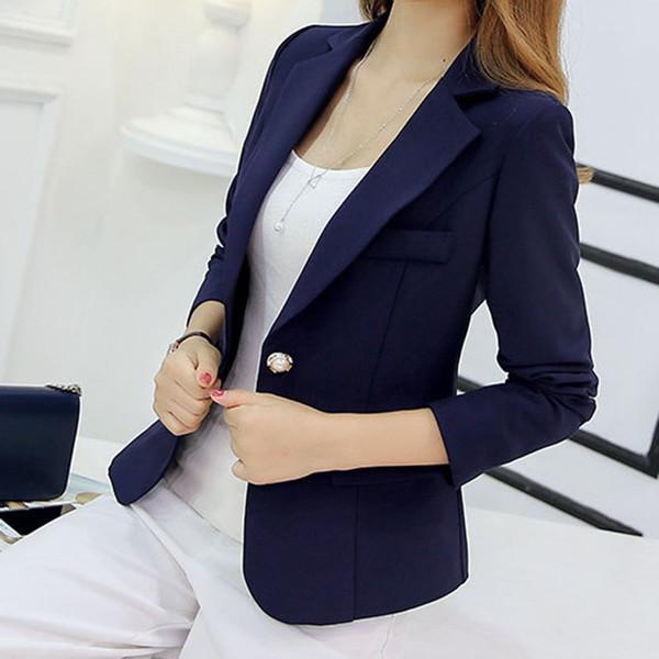 Blazer mujeres nuevas llegadas 2017 señoras Blazers manga larga negocios oficina traje chaquetas mujer azul púrpura gris Blaser Femme Y1891902