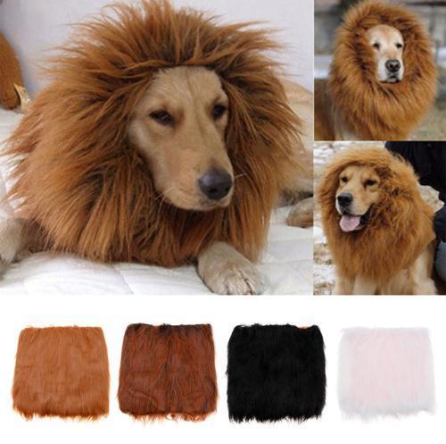 Ajustable gran traje para mascotas Lion Mane peluca perro gato ropa de Halloween disfraces con orejas Pet proveedores c456