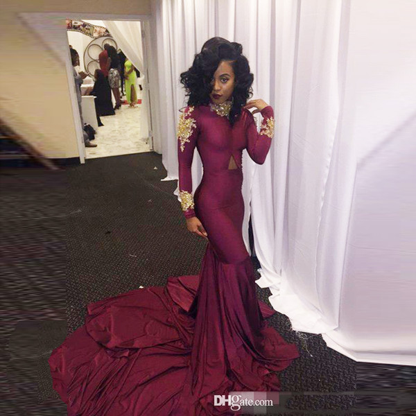 2018 Dark Wine Red Gold South African Prom Dresses Evening Mermaid Long Maxi Gowns Elastic Sexual Black Girl High Quality Homecoming Dress