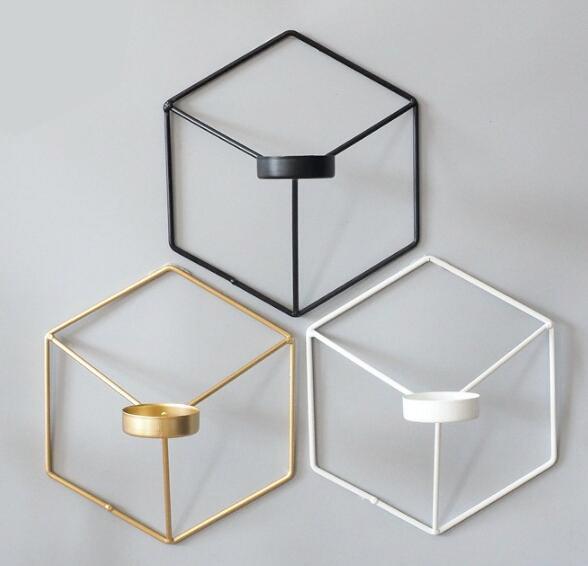 Metall Kerzenhalter Visual Touch nordischen Stil 3D Geometrische Kerzenständer Metall Wand Kerzenhalter Wandleuchter Passende kleine Teelicht Home Ornament