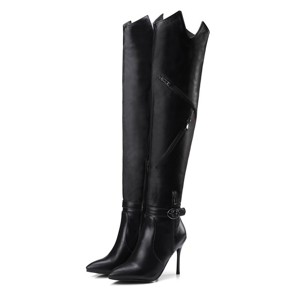 2018 Fashion Large Size Available Asymmetric Zippers Style Women Over Knee High Boots 9.5cm Heel Long Shoes
