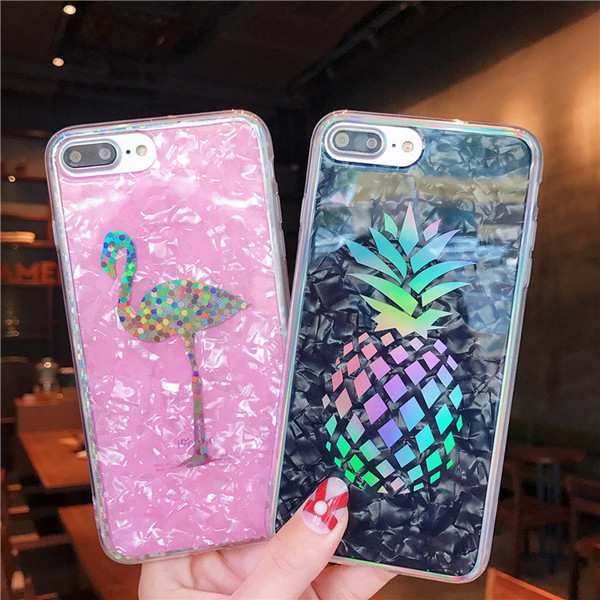 Laser Pineapple Cover Hard Plated Marble Flamingo Cactus Chrome Shell Grain Case for iPhone XS Max XR X 6 6S 7 8 Plus