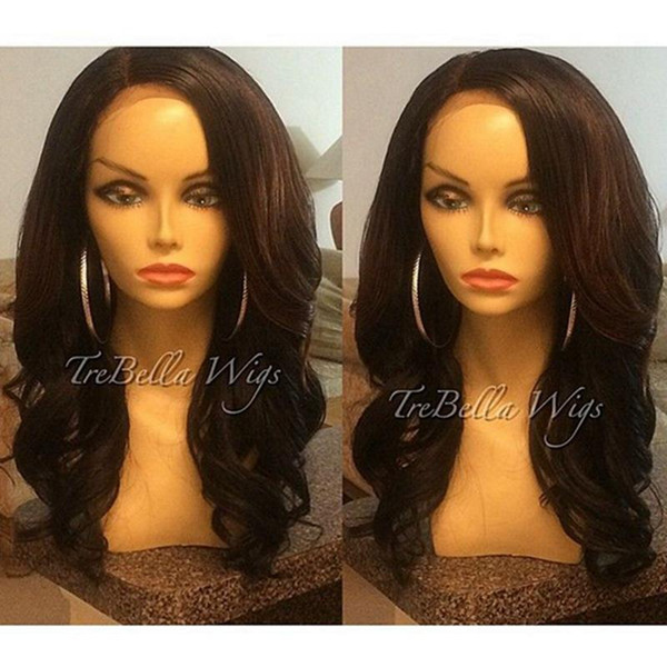 Brazilian Hair Wigs Remy Human Hair Side Part Full Lace Wig Wavy Black Color 1b# 100% Human Hair Lace Front Wigs DHL Shipping