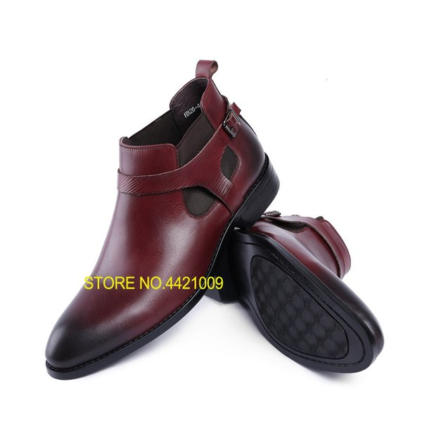 Classic Buckles Mens Vera Pelle Italia Derby Oxfords Scarpe 2018 Abito da sposa Party Shoes Moto Stivaletti Sapatos