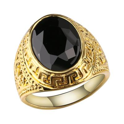 18K Gold Totem claws crystal rings full personality black round resin rings trend Carved gem rings for men and women