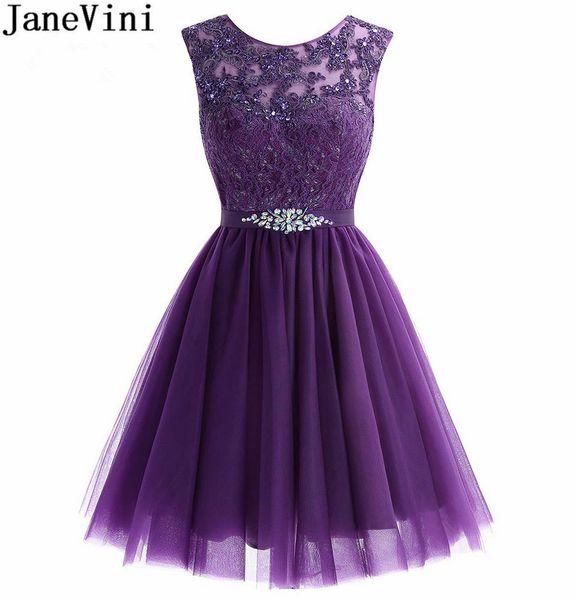 Compre Janevini Líbano Vestidos De Fiesta Púrpura Corto De Tul Con Cuentas Graduación Vestido De Fiesta 2018 Encaje Cristalino Fiesta De Cóctel Use