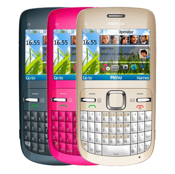 Refurbished Original Nokia C3-00 Unlocked Phone 2.4 inch Screen 2MP Camera Bluetooth FM JAVA 2G GSM Cheap Phone Free Post 1pcs