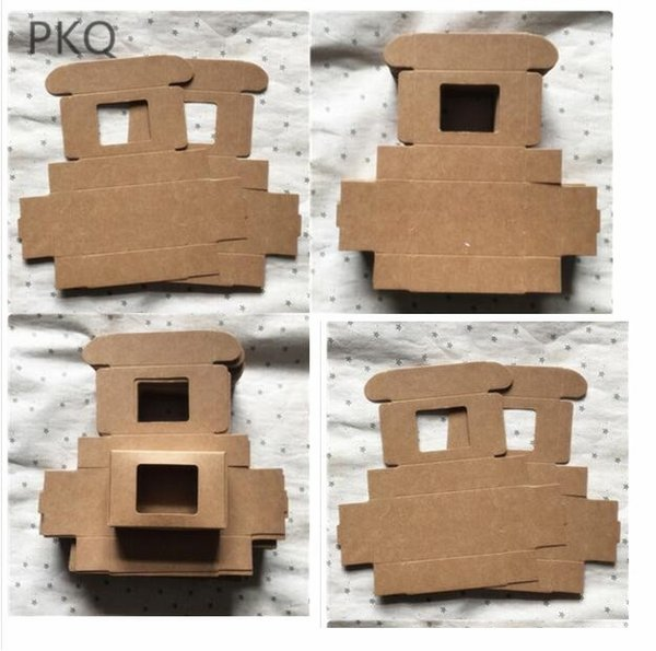 50pcs Small kraft paper box with window DIY Birthday wedding gift Box for jewelry candy Craft cardboard soap packaging