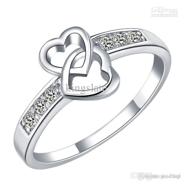 Factory price 925 sterling Silver fashion charm girl gift Austrian CZ Crystal Beautiful Cute pretty Heart love ring jewelry