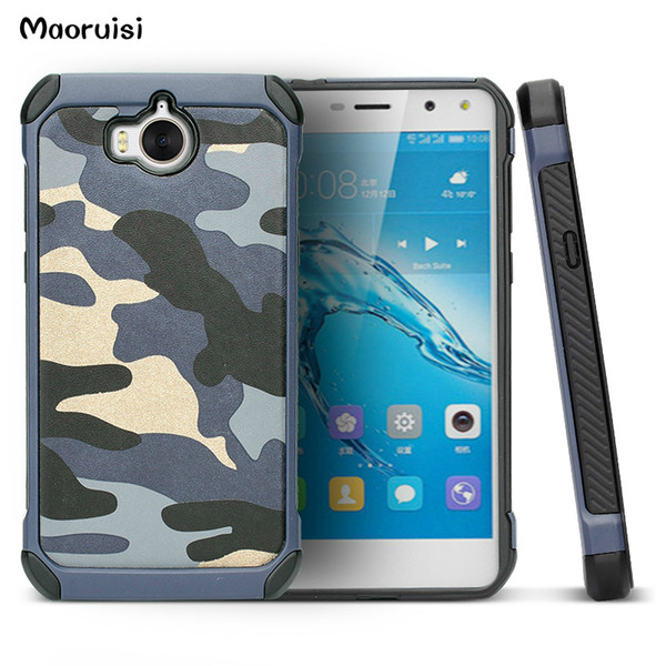 Case for Huawei Y5 2017 Army Camo Camouflage Pattern PC+TPU 2 in1 Anti-knock Protective Back Cover for Huawei Y5 2017 bags