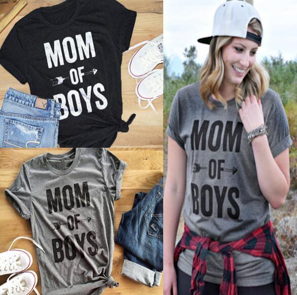 2 pezzi / Creativo elegante minimalista alfabeto inglese camicia a maniche corte in bianco e nero Alfabeto signore stampa MOM BOY lettera T-shirt