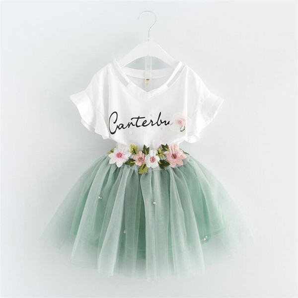 948270417 2018 Summer New Korean Baby & Kids Sets Girl's Clothing Sets Fashion Cute  Brief Letter Skirt