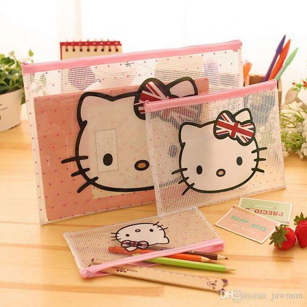 3 size per lot PVC plastic transparent cartoon design student kawaii pencil bag pouch stationery office receipt document pouch