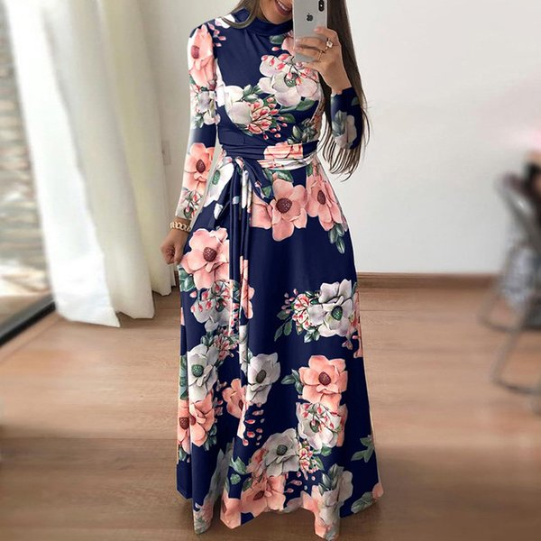 2018 Осень Женщины Dress С Длинным Рукавом Цветочные Печати Платья Старинные Boho Водолазка Макси Dress Элегантный Длинные Партии Vestidos