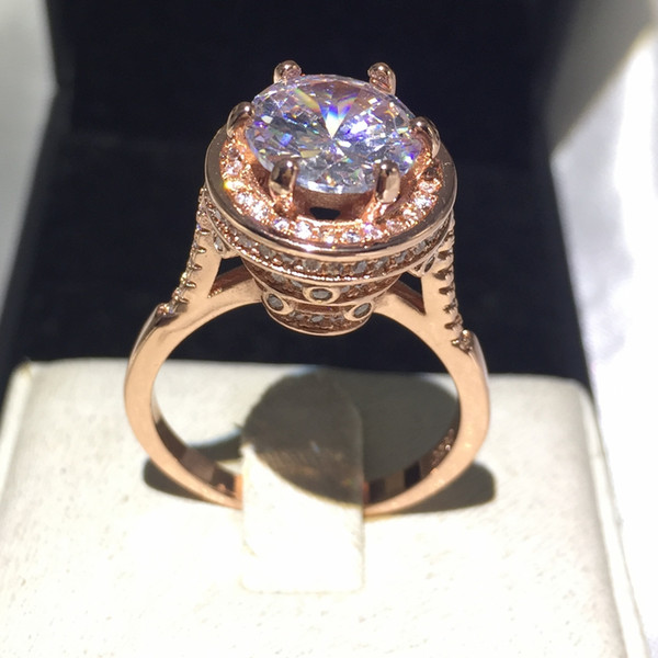 Fashion Jewelry Handmade Solitaire 5ct birthstone 5A Zircon stone rose gold filled 925 Sterling silver Women Engagement Wedding Band Ring Sz