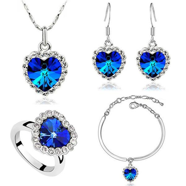 YimYik Oceano Coração Coração Azul O Cristal Colares Brincos Pulseiras Mulheres Jóias Senhoras Colar Brinco Conjunto De Pulseiras