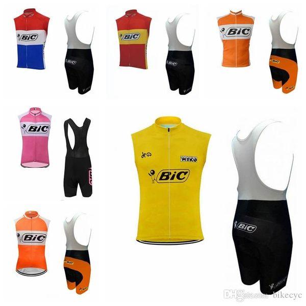 BIC team Cycling Sleeveless jersey Vest (bib)shorts sets men's mountain bike clothing comfortable breathable camisa de ciclismo 062302