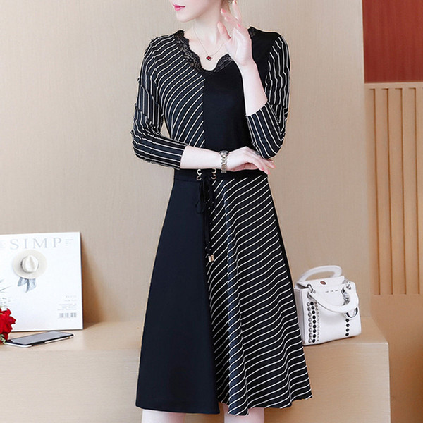 2019 Korean Fashion Women Dress Autumn Large Size Dresses Striped Patchwork Dress Ladies Lace V-Neck Long Sleeve Vestidos Robe