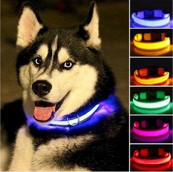 나일론 LED 애완 동물 개 목걸이 야간 안전 깜박임 글로우에서 다크 개 가죽 끈 개 발광 형광 목걸이 애완 동물 용품