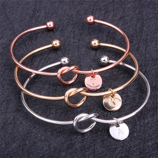 New Fashion Silver Gold Rose Gold Plated Open Size Bowknot Cuff Bangles For Women Round Circle Letters Bangle